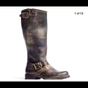 Frye for coach black metallic gold Veronica boot
